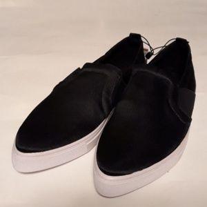 Zara black satiny pointy toe slip on flats